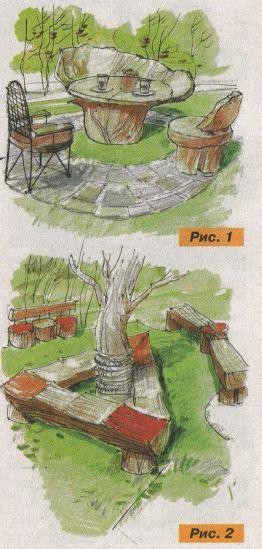 простая деревянная скамейка или стол, выполненные из ствола сухого дерева