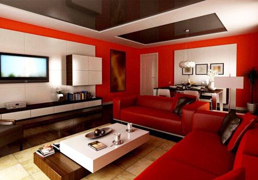 Использование красного цвета при оформлении гостиной