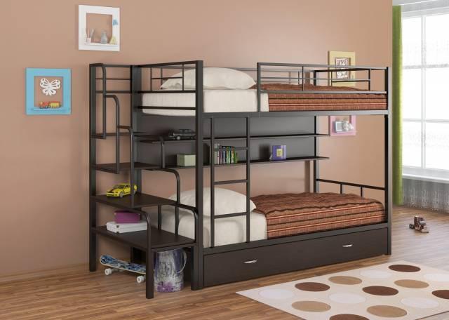 Двухъярусная кровать из металла для детей