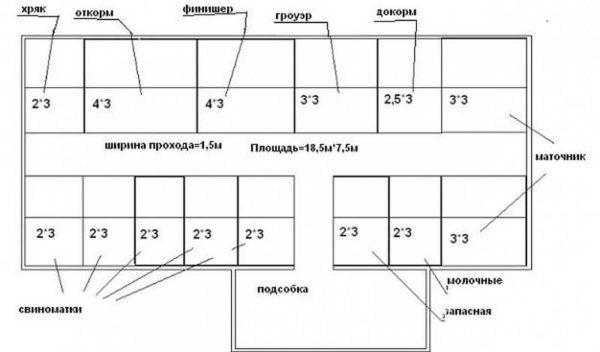План свинарника 18,5*7,5 м
